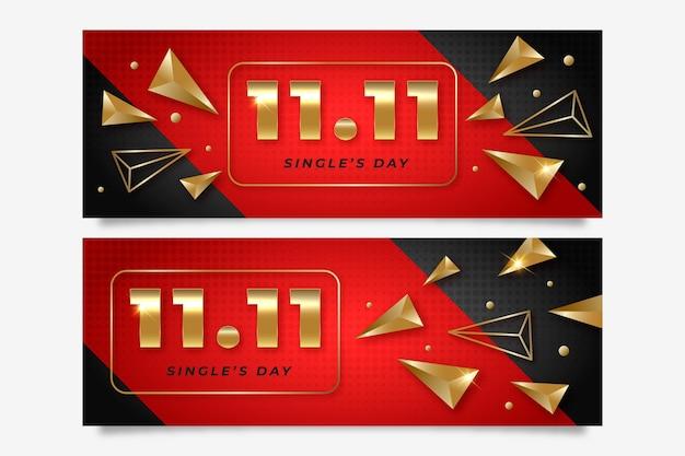 Conjunto de banners horizontales del día del soltero dorado y rojo degradado