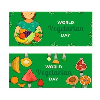 Conjunto de banners horizontales dibujados a mano del día mundial del vegetariano