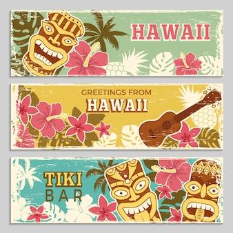 Conjunto de banners horizontales de dioses tribales hawaianos y otros símbolos diferentes