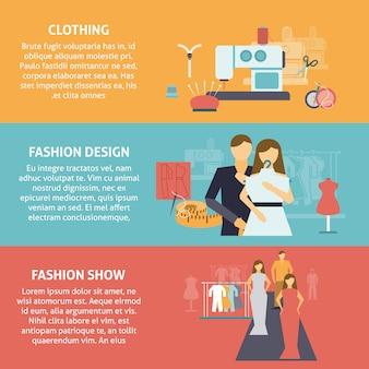 Conjunto de banners horizontales de diseñador de ropa.
