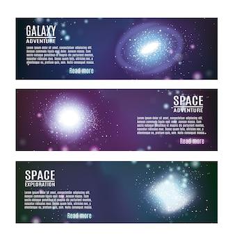 Conjunto de banners horizontales de espacio