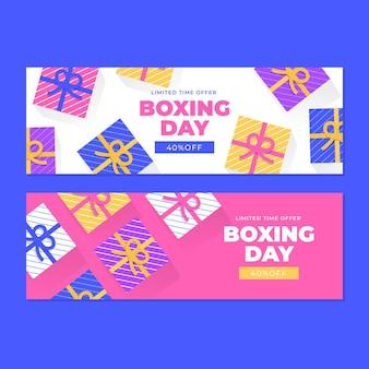 Conjunto de banners horizontales de eventos del día del boxeo.