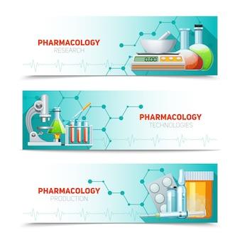 Conjunto de banners horizontales de farmacología.