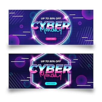Conjunto de banners horizontales flat cyber monday