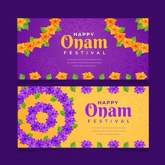 Conjunto de banners horizontales flat onam