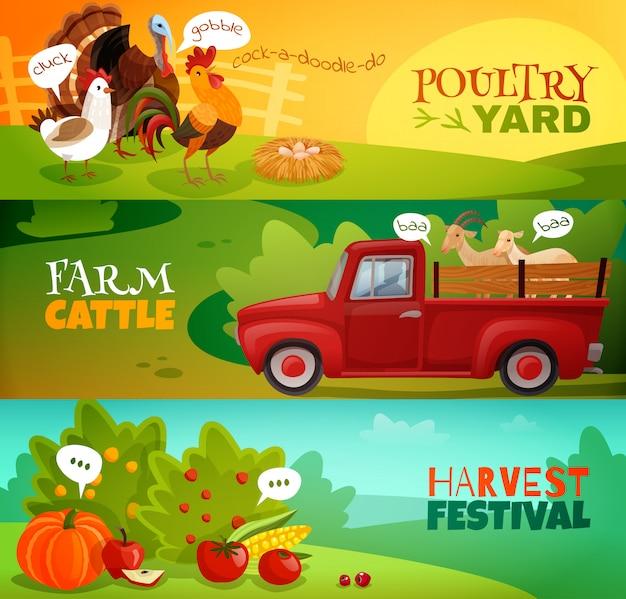 Conjunto de banners horizontales de granja