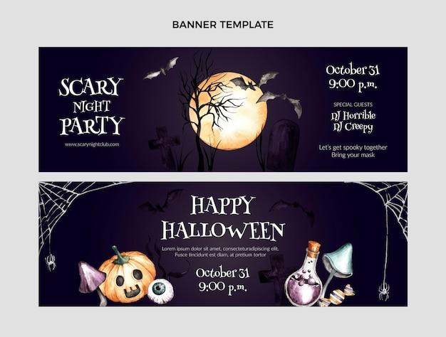 Conjunto de banners horizontales de halloween en acuarela