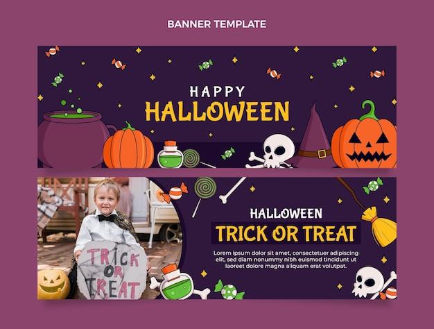 Conjunto de banners horizontales de halloween dibujados a mano