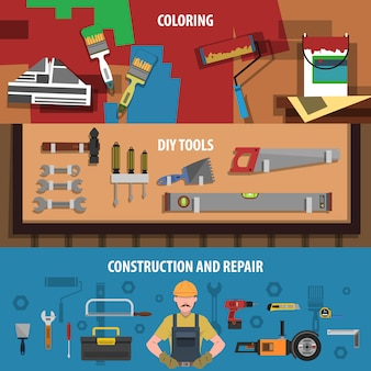 Conjunto de banners horizontales de herramientas