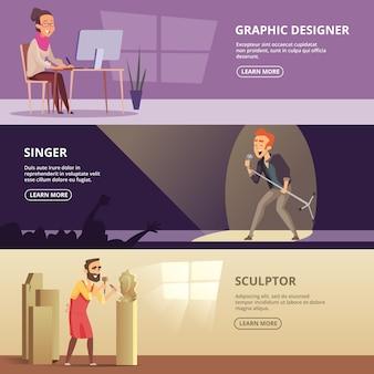 Conjunto de banners horizontales con ilustraciones de profesiones creativas.
