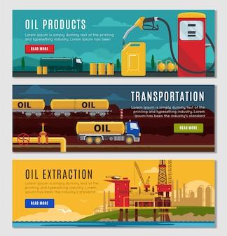 Conjunto de banners horizontales de la industria petrolera