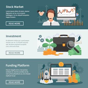 Conjunto de banners horizontales de inversión y trading.