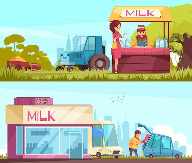 Conjunto de banners horizontales de leche
