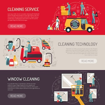 Conjunto de banners horizontales de limpieza industrial