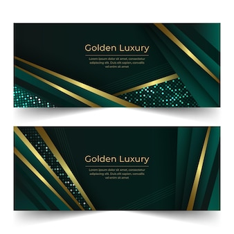 Conjunto de banners horizontales de lujo dorado degradado