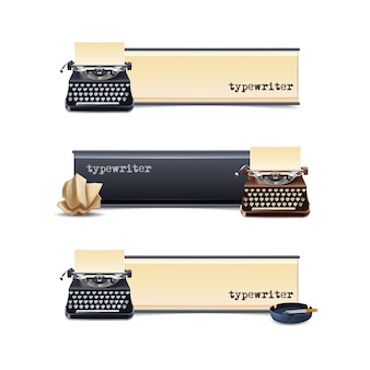 Conjunto de banners horizontales de máquina de escribir