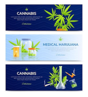 Conjunto de banners horizontales de marihuana medicinal.