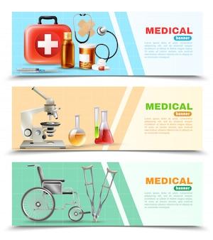 Conjunto de banners horizontales médicos planos de salud