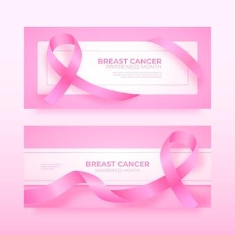 Conjunto de banners horizontales del mes de concientización sobre el cáncer de mama realista