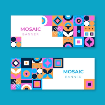 Conjunto de banners horizontales de mosaico plano.