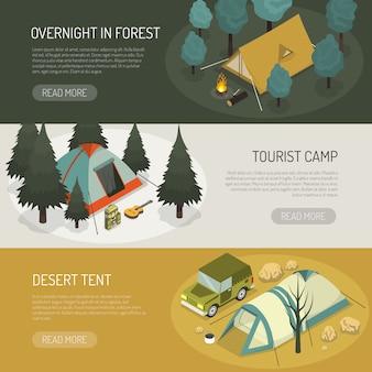 Conjunto de banners horizontales de opciones de carpas de camping