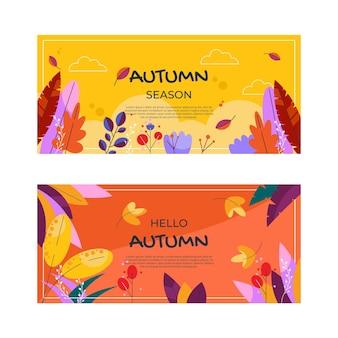 Conjunto de banners horizontales otoño plano