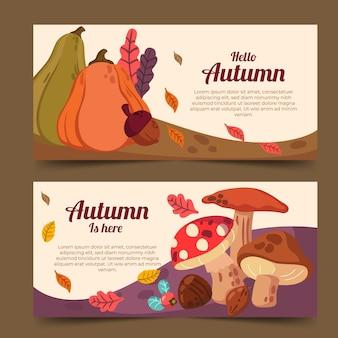 Conjunto de banners horizontales de otoño