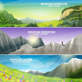 Conjunto de banners horizontales de paisaje de montañas