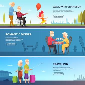 Conjunto de banners horizontales de parejas mayores en diversas situaciones.