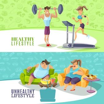 Conjunto de banners horizontales de personas sanas y no saludables