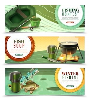 Conjunto de banners horizontales de pesca deportiva.