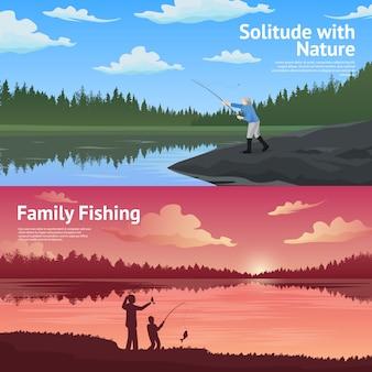 Conjunto de banners horizontales de pesca familiar