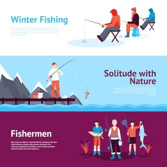 Conjunto de banners horizontales de pesca de temporada