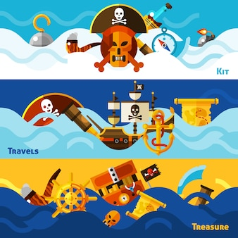 Conjunto de banners horizontales piratas