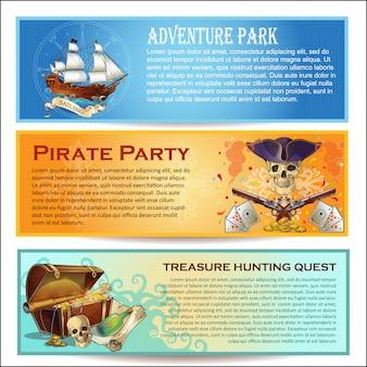 Conjunto de banners horizontales de piratas