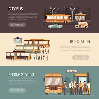 Conjunto de banners horizontales planas de autobuses urbanos