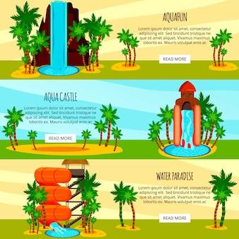 Conjunto de banners horizontales planas entretenidas toboganes de agua del parque acuático aislado en colorido