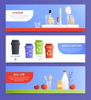 Conjunto de banners horizontales planas de productos ecológicos.