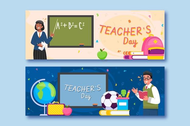 Conjunto de banners horizontales planos del día del maestro.