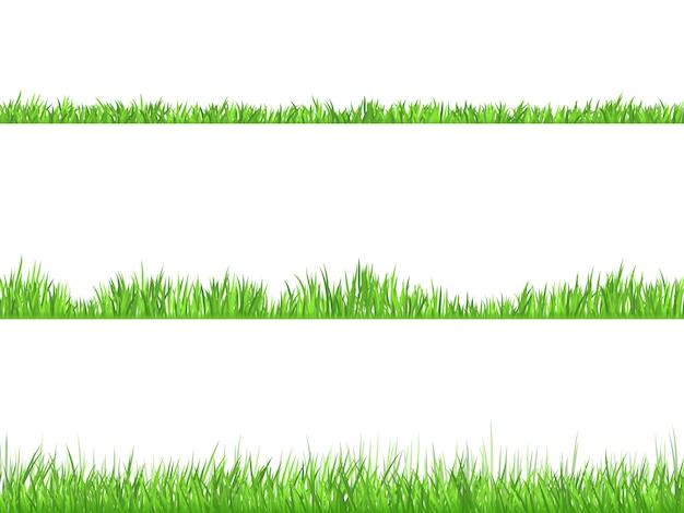 Conjunto de banners horizontales planos de hierba verde