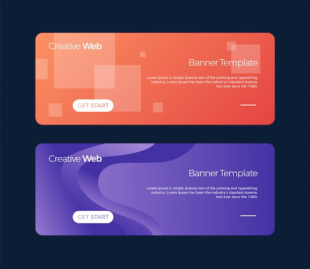 Conjunto de banners horizontales plantilla universal para un sitio web con texto, botones y elementos transparentes.