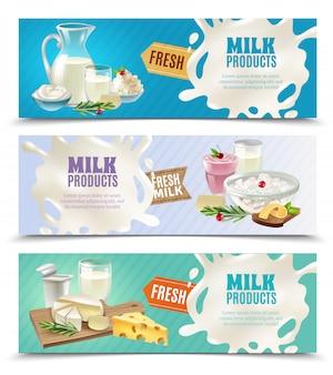 Conjunto de banners horizontales de productos lácteos