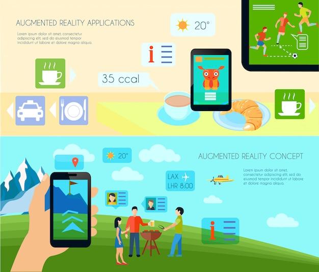 Conjunto de banners horizontales de realidad aumentada y tecnología.