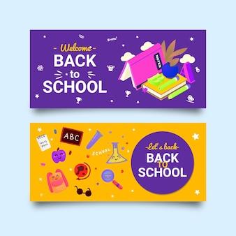 Conjunto de banners horizontales de regreso a la escuela plana