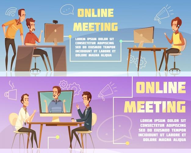 Conjunto de banners horizontales de reuniones en línea con dibujos animados de símbolos de negocios y trabajo aislado ilustración vectorial