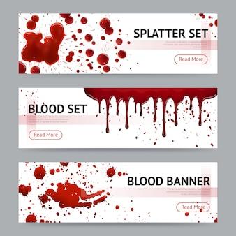 Conjunto de banners horizontales de salpicaduras de sangre