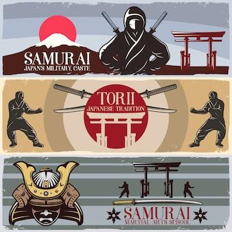 Conjunto de banners horizontales de samurai