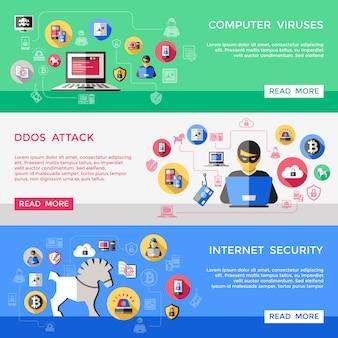 Conjunto de banners horizontales de seguridad de internet
