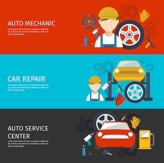 Conjunto de banners horizontales de servicio mecánico automático