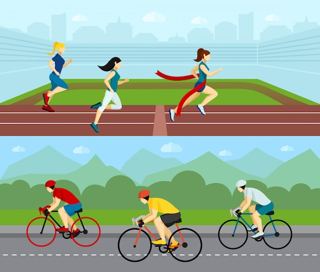 Conjunto de banners horizontales sport de personas